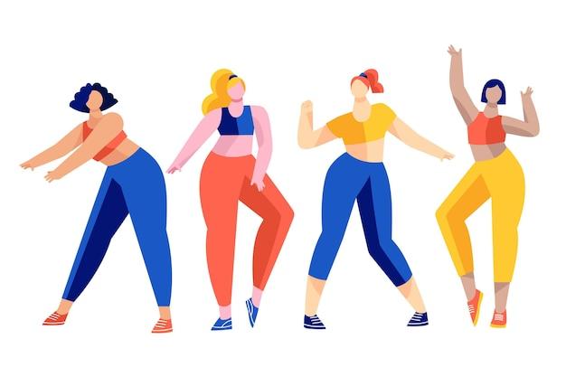 Mensen die deelnemen aan een fitness-dansles