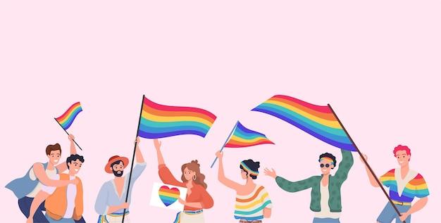 Mensen die deelnemen aan lgbt-trots vector vlakke afbeelding lesbienne