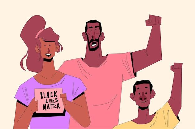 Mensen die deelnemen aan zwarte levens zijn belangrijk voor beweging