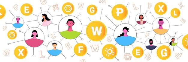 Mensen die digitale munten verzenden en ontvangen, virtueel geld, cryptocurrency-uitwisseling, banktransactie, netwerkcommunicatie,