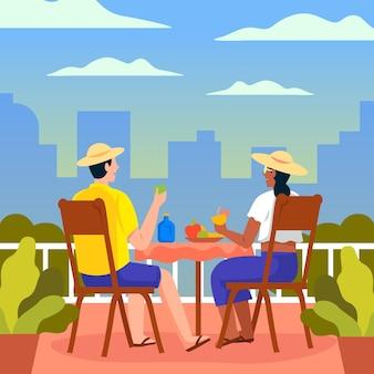 Mensen die diner samen staycation concept nemen