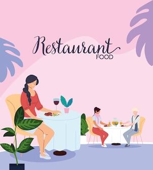 Mensen die dineren in een exclusief de illustratieontwerp van het luxerestaurant
