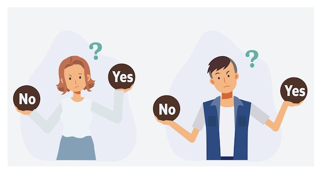 Mensen die een beslissing nemen ja of nee. verward denken. platte vector 2d cartoon karakter illustratie.