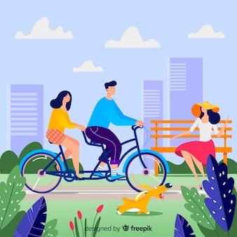 Mensen die een fiets in het park berijden