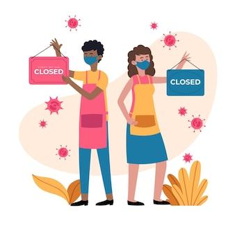 Mensen die een gesloten uithangbord hangen