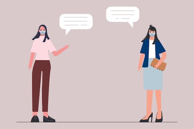 Mensen die een gezichtsmasker dragen en afstand houden