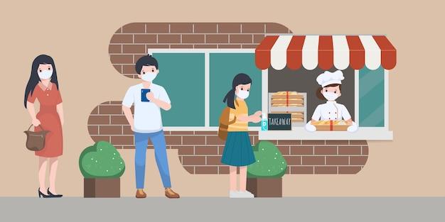 Mensen die een gezichtsmasker dragen in de rij en afstand houden om wat voedsel in de winkel te kopen.