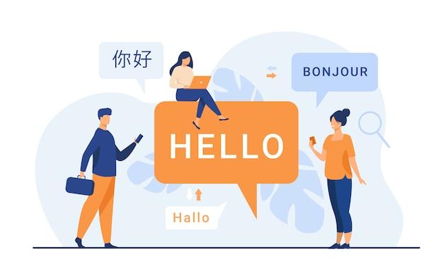 Mensen die een online vertaal-app gebruiken