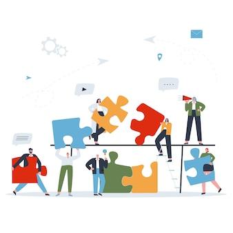 Mensen die een puzzel van stukjes samenstellen samenwerkend werk van een team van medewerkers platte vector