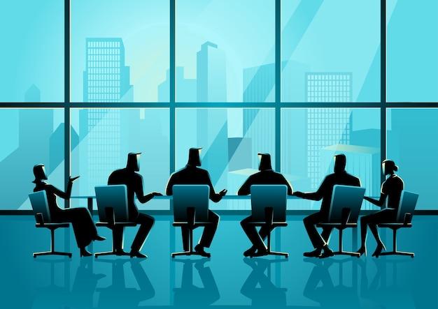 Mensen die een vergadering hebben in de executive conference room