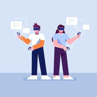 Mensen die een virtual reality-bril gebruiken Gratis Vector