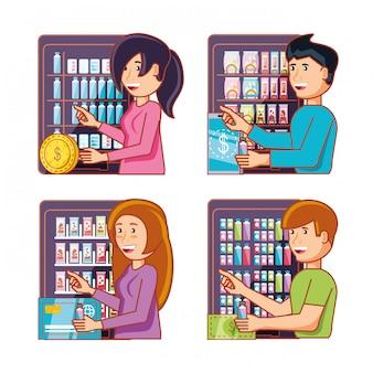 Mensen die elektronica van automaten gebruiken
