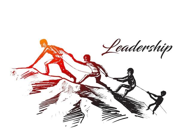 Mensen die elkaar helpen een berg op te wandelen een helpende hand geven en een actief fit levensstijlconcept