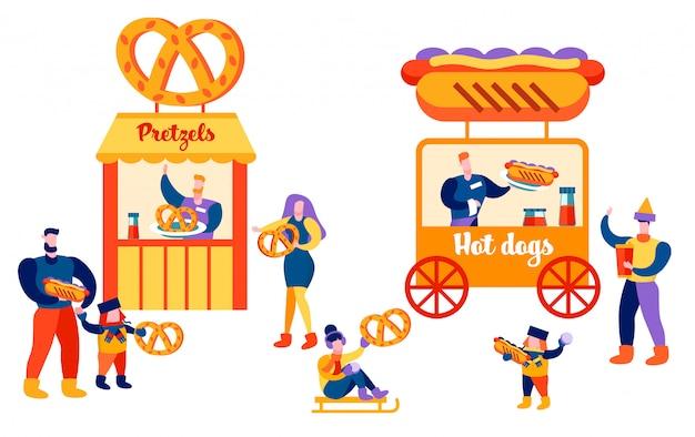 Mensen die eten op openbare plaatsen ouders en kinderen