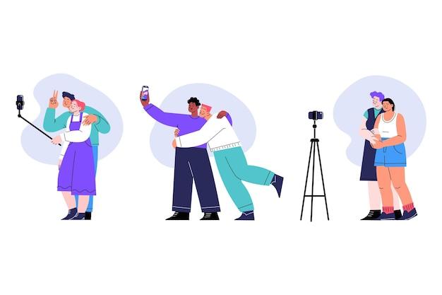 Mensen die foto's maken met smartphone