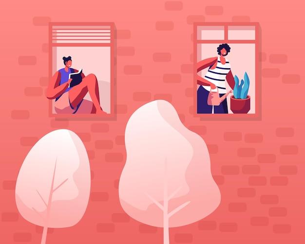 Mensen die gedrag, buurtconcept leven. cartoon vlakke afbeelding