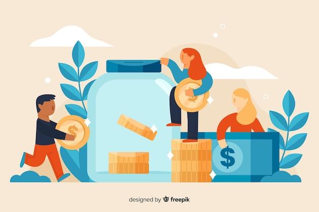 Mensen die geldachtergrond besparen