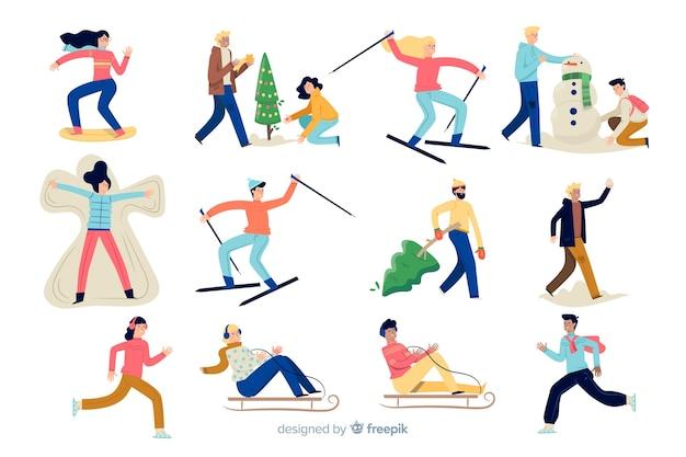 Mensen die genieten van de winter