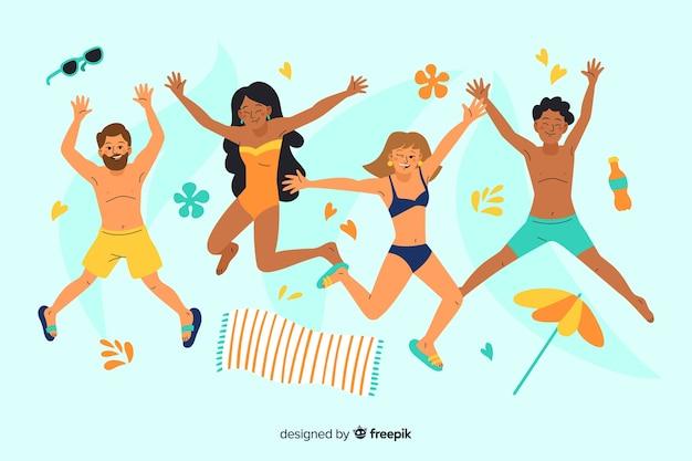 Mensen die genieten van de zomer op het strand