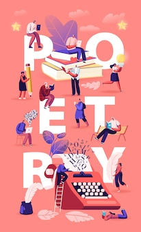 Mensen die genieten van het lezen en schrijven van poëzie-concept. cartoon vlakke afbeelding