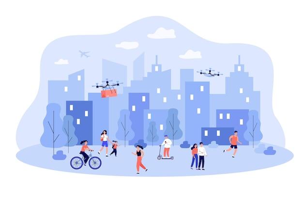 Mensen die genieten van het moderne leven in de vlakke afbeelding van de slimme stad