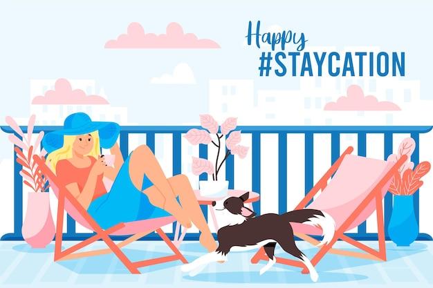 Mensen die genieten van staycation