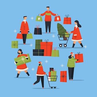 Mensen die geplaatste kerstmisgiften kopen