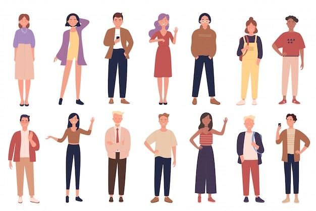Mensen die geplaatste vrijetijdskleding vectorillustraties dragen