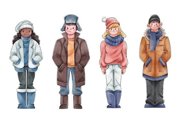 Mensen die gezellige winterkleren dragen