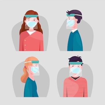 Mensen die gezichtsmasker en schild gebruiken