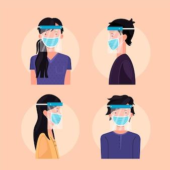 Mensen die gezichtsscherm en maskerverzameling gebruiken