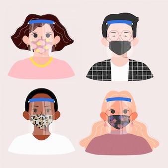 Mensen die gezichtsschild en gevormde maskerillustratie gebruiken. nieuw normaal concept