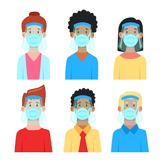 Mensen die gezichtsschild en maskerconcept gebruiken