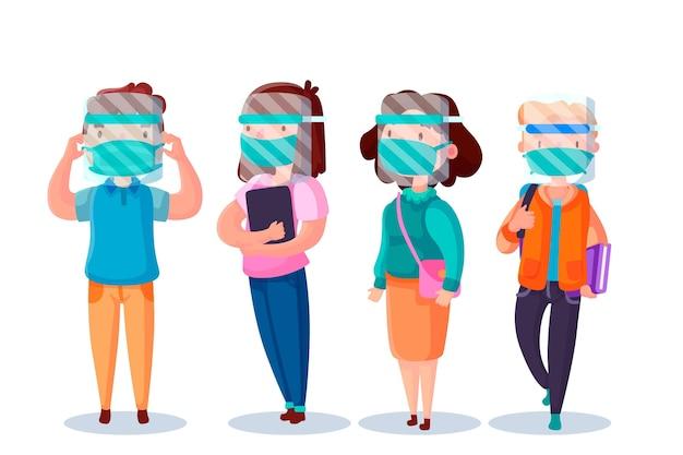 Mensen die gezichtsschild en maskerillustratie gebruiken