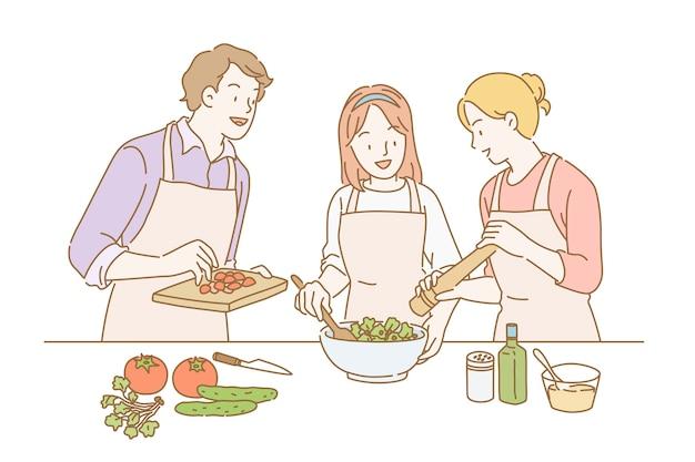 Mensen die gezonde salade maken in lijnstijl