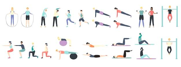Mensen die gezondheidssoorten fitness oefeningen in sportillustratie doen die op wit wordt geïsoleerd.
