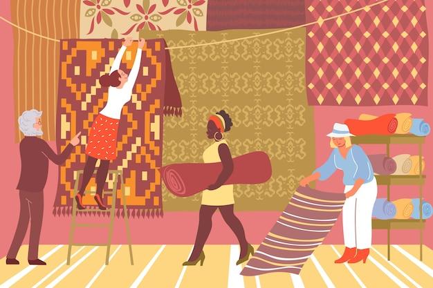 Mensen die goederen in de flat van de tapijtwinkel kiezen