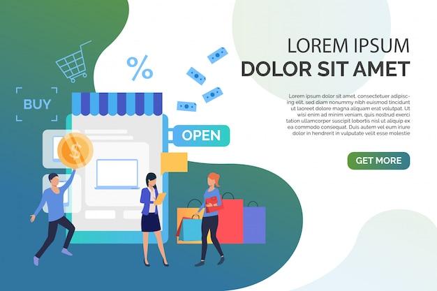 Mensen die goederen in online winkel met steekproeftekst kopen