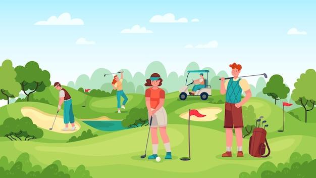 Mensen die golfen Premium Vector