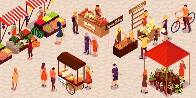 Mensen die groenten, fruit, honing, kaas, brood, bloemen, jam kopen, op, boerderij, markt, isometrisch