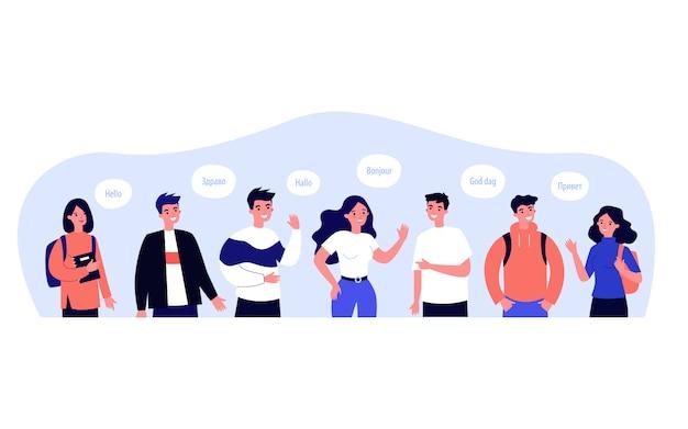 Mensen die hallo zeggen in hun eigen taal