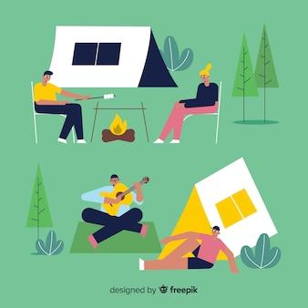 Mensen die hand getrokken stijlinzameling kamperen