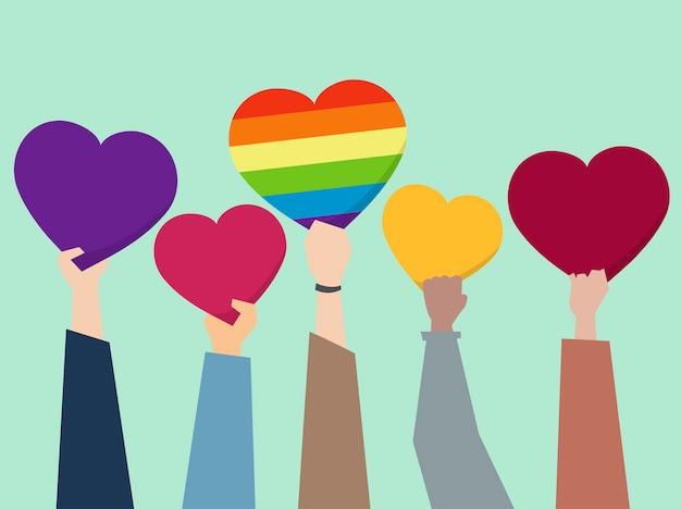 Mensen die hartenillustratie steunen