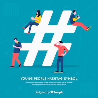 Mensen die hashtag-symbool gebruiken