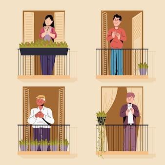 Mensen die het concept van de balkonsillustratie slaan