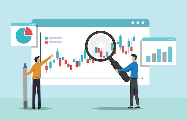 Mensen die het concept van de groeigrafiek analyseren. gegevensanalyse en monitoring van investeringen vectorillustratie