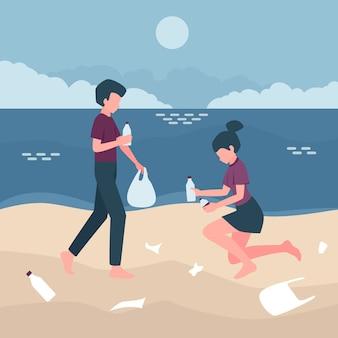 Mensen die het concept van de strandecologie schoonmaken