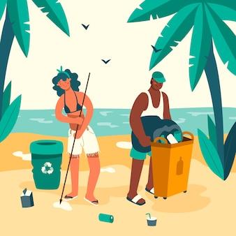 Mensen die het concept van de strandillustratie schoonmaken