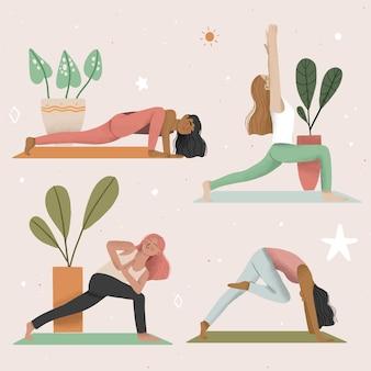 Mensen die het concept van de yogaillustratie doen