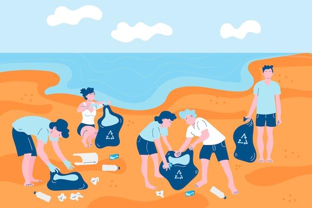 Mensen die het geïllustreerde strand schoonmaken